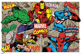 Marvel- Characters Busting Out Stampe