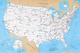 Map Of USA- Road Map Prints
