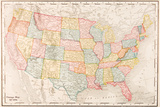 Map Of USA- Vintage Photo