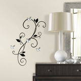 Scroll Sconce Peel And Stick Wall Decals With Bendable Butterfly Mirrors Wall Decal