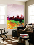 Barcelona Watercolor Skyline Wall Mural by  NaxArt