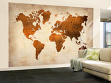 World  Map 7 Wall Mural – Large by  NaxArt