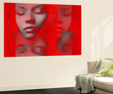 Red Beauty Mirrored Wall Mural by  NaxArt