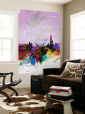 Taipei Watercolor Skyline Wall Mural by  NaxArt