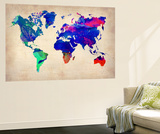 World Watercolor Map 2 Vægplakat i topklasse af  NaxArt
