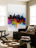 Los Angeles Watercolor Skyline 2 Wall Mural by  NaxArt