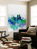 Boston Watercolor Skyline Wall Mural by  NaxArt