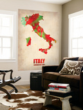 Italy Watercolor Map Wall Mural by  NaxArt