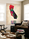 California Watercolor Map Wall Mural by  NaxArt