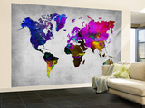 World Watercolor Map 13 Wall Mural – Large by  NaxArt
