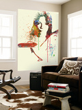 Jaguar E Type Girl Wall Mural by  NaxArt