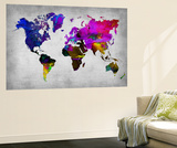 World Watercolor Map 13 Vægplakat i topklasse af  NaxArt