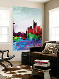 Frankfurt Watercolor Skyline Wall Mural by  NaxArt