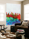 Houston Watercolor Skyline Wall Mural by  NaxArt