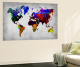 World Watercolor Map 12 Wall Mural by  NaxArt