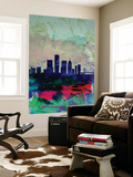 Detroit Watercolor Skyline Wall Mural by  NaxArt