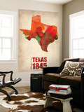 Texas Watercolor Map Wall Mural by  NaxArt