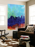 Portland Watercolor Skyline Wall Mural by  NaxArt
