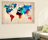 World Watercolor Map 1 Vægplakat i topklasse af  NaxArt