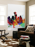 Seattle Watercolor Skyline 2 Wall Mural by  NaxArt