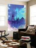 Paris Watercolor Skyline Wall Mural by  NaxArt