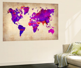 World Watercolor Map 5 Wall Mural by  NaxArt