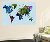 World Watercolor Map 3 Wall Mural by  NaxArt