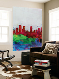 Denver Watercolor Skyline Wall Mural by  NaxArt