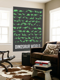 Dinosaur Poster Green Wall Mural by  NaxArt