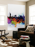 New York Watercolor Skyline 1 Wall Mural by  NaxArt