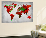 World Watercolor Map 11 Wall Mural by  NaxArt