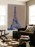 Eiffel Tower Blue Wall Mural by  NaxArt