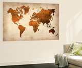World  Map 7 Vægplakat af  NaxArt