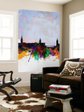 Stockholm Watercolor Skyline Wall Mural by  NaxArt
