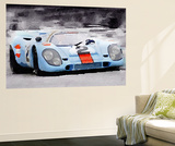 Porsche 917 Gulf Watercolor Wall Mural