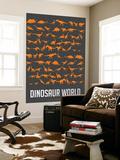 Dinosaur Poster Orange Wall Mural by  NaxArt