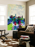 Munich Watercolor Skyline Wall Mural by  NaxArt