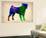 Pug Watercolor Wall Mural by  NaxArt