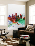 Dallas Watercolor Skyline Wall Mural by  NaxArt