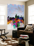 Copenhagen Watercolor Skyline Wall Mural by  NaxArt
