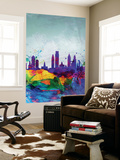 Philadelphia Watercolor Skyline Wall Mural by  NaxArt