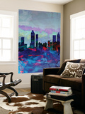 Atlanta Watercolor Skyline Wall Mural by  NaxArt