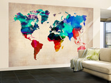 World Watercolor Map 1 Wall Mural – Large by  NaxArt
