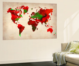 World Watercolor Map 4 Wall Mural by  NaxArt