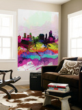 Tulsa Watercolor Skyline Wall Mural by  NaxArt