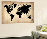 Vintage World Map Premium Wall Mural by  NaxArt