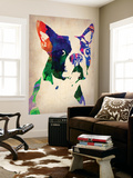 Boston Terrier Watercolor Wall Mural by  NaxArt