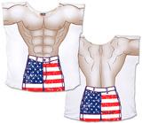 Stars & Stripes Guy Board Shorts Cover-Up Shirts