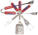 MLB Texas Rangers Four Piece Stainless Steel BBQ  Set BBQ Grill Set