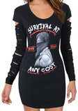 Juniors Long Sleeve: Walking Dead- Survival At Any Cost Lazer Cut Cover Up T-shirts